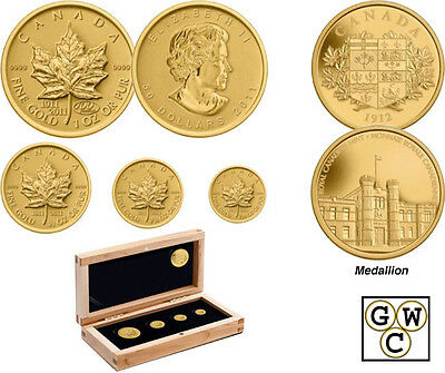2011 Gold Maple Leaf Set .9999 Fine w/ gold plated silver coin   (12784)