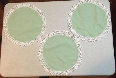 3 Vintage Handmade Green Round Cotton Doilies with Off-white Crochet Lace Edge