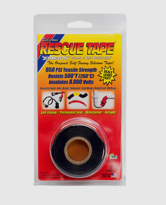 "RESCUE TAPE Self-Fusing BLACK Silicone Repair Permanent Waterproof 1"" x 12 ft"