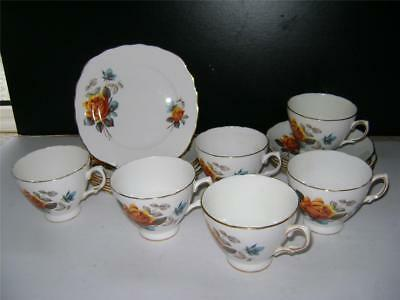 """Pretty 17 Piece Tea Set in """"Yellow Rose"""" Design by Royal Vale"""
