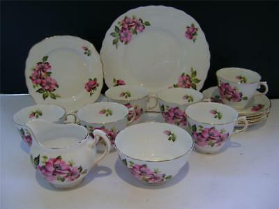 """Pretty 21 Piece Tea Set in """"Pink Rose"""" Design by Royal Vale."""