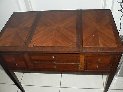 Antique Vintage French Wood Inlay Desk Dresser Vanity Fine Furniture