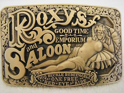 NEW Vintage Solid Brass ROXY'S GOOD TIME EMPORIUM AND SALOON Belt Buckle by ADM