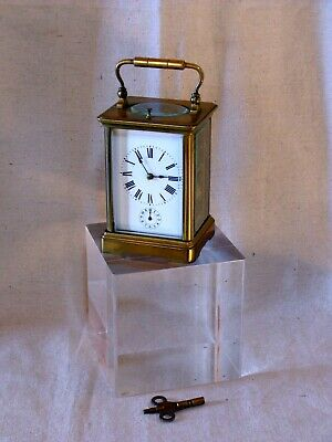 Antique French Style Brass Carriage Two Gong Clock With Key
