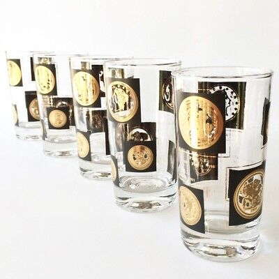 Vintage Libbey Glass Co Old World Gold Coins Barware Glasses Qty 8 FREE SHIPPING