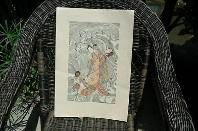 "ORIGINAL VINTAGE JAPANESE WOODBLOCK PRINT JAPAN image 14"" x 8.5"""