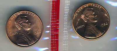 1986 P & D Lincoln Cents Gem Bu from mint sets No Reserve