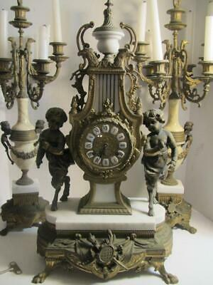 Antique Cast Iron Mantel Shelf Clock with 2 Matching Candelabras - L@@K!!