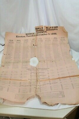 1896 Morgan Country Election Ballot National Independent People's Prohibition