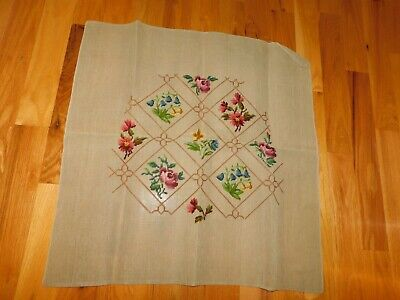 Spring Flowers Needlepoint Canvas Ready to Complete Vintage Rose Blue Bells