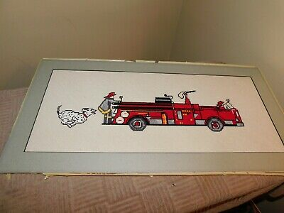 Dalmatian and Fire Truck Cross Stitch Panel COMPLETED Handmade