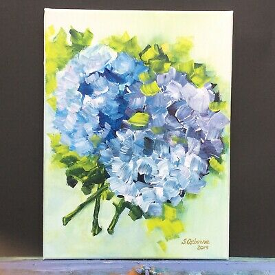 Hydrangea Blue Floral Painting Flowers Acrylic Painting Bouquet Impressionism