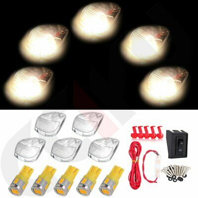 5pcs Cab Marker Top Lamp Clear Lens +Warm White + Wiring Pack For 99-16 Ford