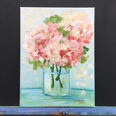 Pink Hydrangea Floral Art Painting Flowers Small Painting Abstract Bouquet Gift