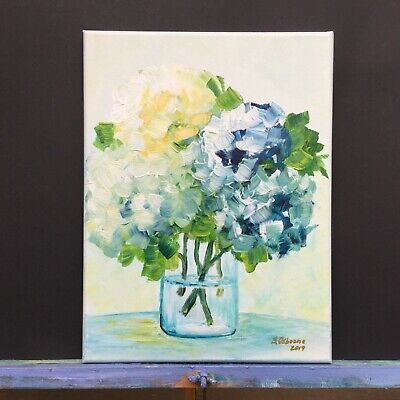 Blue White Hydrangea Painting Flowers Small Abstract Bouquet Gift  Floral Art