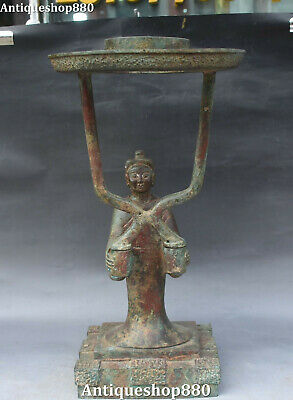 "15"" Old Bronze Ware Dynasty People Human Man Candle Holder Candlestick Oil lamp"
