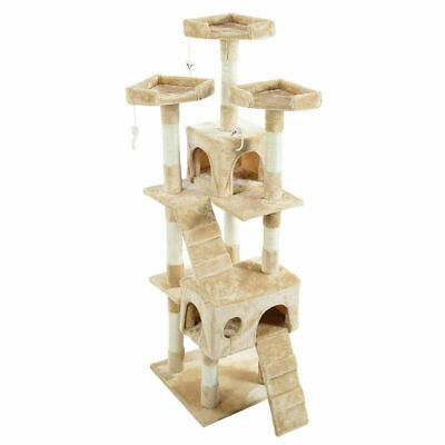Beige Cat Tree Tower Condo Furniture Scratching Post Pet Kitty Play House