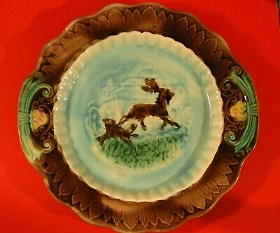 """Antique 19th Century Victorian 11"""" Majolica Dog Chasing Stag Deer Plate"""