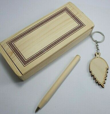 Blank wooden craft box for pyrography includes a set of a pen and a key chain