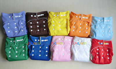 LOTS 10pcs+OB10 INSERTS Adjustable Reusable Washable Baby Cloth Diapers Nappies