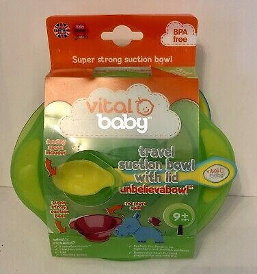 Vital Baby Unbelievabowl Travel Suction Bowl 2pk with Lid and Spoon - Green