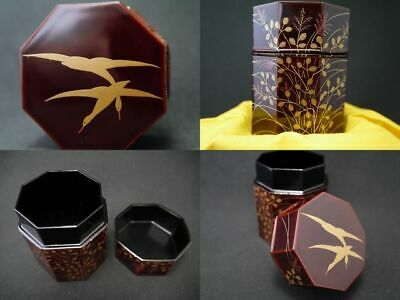 Japanese Lacquer Wooden Tea caddy WILD GEESE at BUSH CLOVER makie OCTAGON (514)