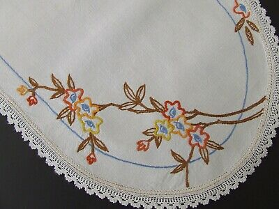 Hand Embroidered Vintage Centre - Blossoms on a Branch - Lace Edging