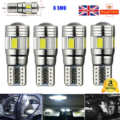 4x BRIGHTEST T10 CAR BULBS LED ERROR FREE CANBUS 6 SMD WHITE W5W 501 SIDE LIGHT