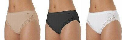 New 3 Pack La Marquise Ladies  Lace Comfort Cotton High Leg Briefs Knickers