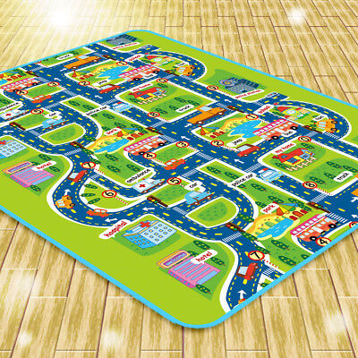 Infant Baby Kids Crawl Playing Fun Car City Traffic Game Play Mat Rug Carpet