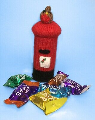KNITTING PATTERN - Christmas Pillar / Post Box with Robin Sweet Holder 15cm tall