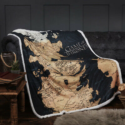 Official Game Of Thrones GOT Westeros Map World Sherpa Fleece Blanket Throw