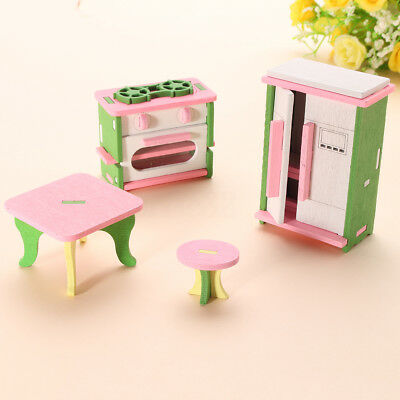 Retro Wooden Doll House Miniature Kitchen Furniture Set Kids Role Play Toys