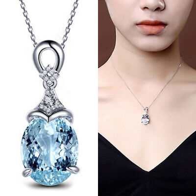 Women Vintage Gemstone Natural Aquamarine Silver Chain Pendant Necklace Jewelry
