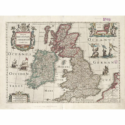 GB Great Britain Map Large Poster Art Print Black /& White Card or Canvas