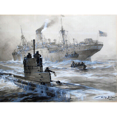Stower WWI Uboat Sinking Linda Blanche Liverpool Canvas Wall Art Print Poster