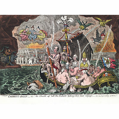 Gillray Charon's Boat Whigs Satire Painting Wall Art Canvas Print 18X24 In