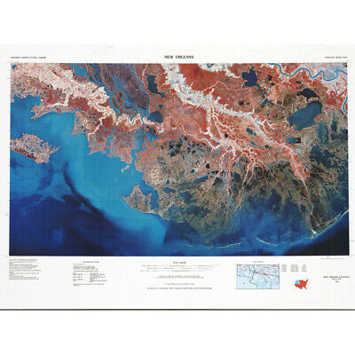 USGS 1979 Geological Map New Orleans La Canvas Wall Art Print Poster