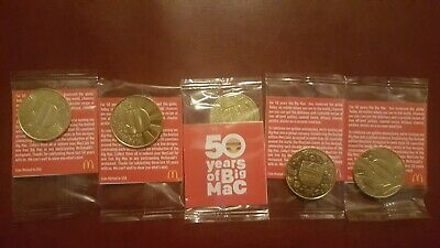 McDonald/'s 50 Years of Big Mac Anniversary Coins Complete 5-coin Set Sealed
