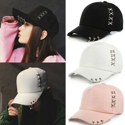 KPOP Boys Hat Iron Ring Baseball Adjustable Cap Hip Hop Snapback Gothic Cap