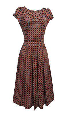 New Red Blue Deco Wartime 1930's 40's Vintage Retro Style Swing Tea Dress