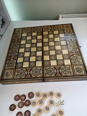Large Vintage Solid Wood Mother Of Pearl Chess Backgammon Box