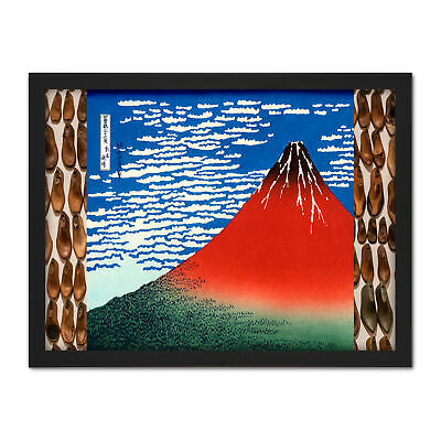 Hokusai Red Fuji Wind Sky Japanese Painting Framed Wall Art Print 18X24 In