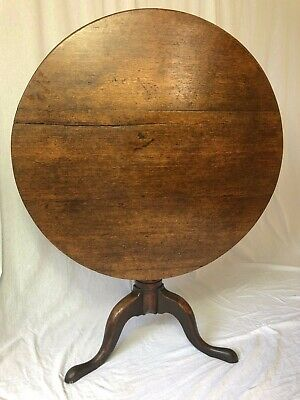 1 Fine Antique Period Oak 18th Century George III Circa 1760 Tripod Wine Table
