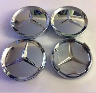 4x Alloy Wheel Centre Caps For Mercedes Benz Full Chrome Badge Emblem 65mm Shiny