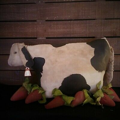 Primitive cow with strawberries, bowl filler & home decor,handmade