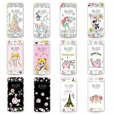 Cartoon Fiber Tempered Glass Screen Protector Film Case for iPhone 7 8 C0286
