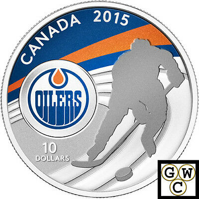 2015 Edmonton Oilers-NHL Colored Proof $10 Silver Coin 1/2oz .9999 Fine (14098)