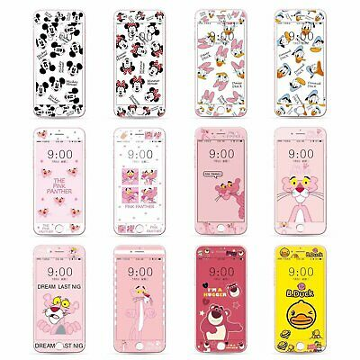 Cartoon Fiber Tempered Glass Screen Protector Film Case for iPhone 7 8 C0296
