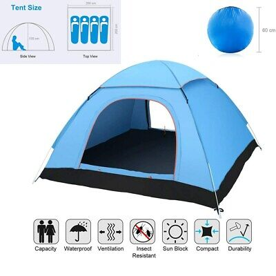 3-4 Man Person Camping Pop Up Tent Dome Waterproof Outdoor Shelter Family Travel